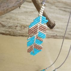 Collier Plumy perles turquoises camel  Soline