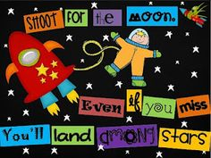 under the moon bulletin boards Rocket Bulletin Boards, Summer Bulletin Boards, Classroom Bulletin Boards, Classroom Schedule, Class Displays, School Displays, Classroom Displays, Library Displays, Space Theme Classroom