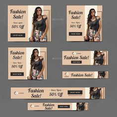 Buy Fashion Sale Web Banner Set by Hyov on GraphicRiver. Promote your Products and services with this great looking Banner Set. Web Banners, Web Banner Design, Layout Design, Design Design, Cosmetic Web, Google Banner, Facebook Cover Design, Fashion Banner, Promotional Design
