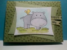 """Avery Elle's """"Hipster-potamus."""" SU card stock and DSP.  Sentiment from Stampendous.  Colored with Spectrum Noir markers."""