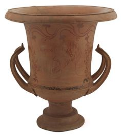 1903.70.e Clay calyx-krater vase, found at Lipari, Italy, late 4th century BC.