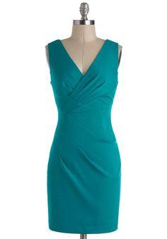 Angles of Mine Dress - Blue, Solid, Pleats, Party, Sheath / Shift, Sleeveless, Short, V Neck - 74.99