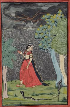 Attributed to Mola Ram (India, 1743-1833 (?)) Title The Eager Heroine on Her Way to Meet Her Lover out of Love (Kama Abhisarika Nayika)
