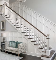 Home remodeling, staircase wall decor, stair walls, staircase makeover, wai Staircase Wall Decor, Stair Walls, Staircase Remodel, Staircase Makeover, Staircase Design, Wainscoting Stairs, Staircase Diy, Staircases, Stair Railing