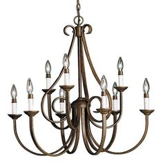 "Kichler Dover 9 Light 33"" Wide Candle-Style 2-Tier Chandelier - Tannery Bronze Primary Image"
