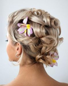 Curly hairstyle and purple with yellow flowers #hot #sexy #hairstyles #hairstyle #hair #long #short #medium #buns #bun #updo #braids #bang #greek #braided #blond #asian #wedding #style #modern #haircut #bridal #mullet #funky #curly #formal #sedu #bride #beach #celebrity #simple #black #trend #bob #girls