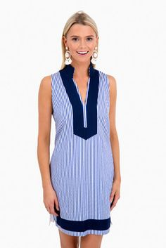 Classic Stripe Dress Preppy Summer Outfits, Stylish Outfits, Prep Style, My Style, Summer Wardrobe, Striped Dress, How To Wear, Navy, Classic