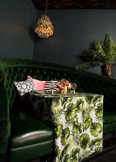 Here comes Holiday Inspiration with our Swaying Palms Leaf Print Linen - Creative Coverings