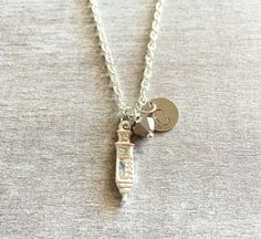 Silver Plated Necklacesyringe jewelry medical necklace by SAjolie