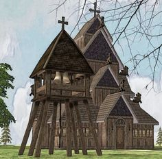 Bell Tower for Stave Churches Electronic Art, Sims 2, Middle Ages, Plumbing, Medieval, Tower, House Styles, Bob, Decor