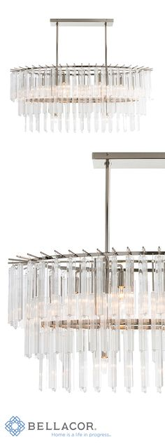 This stunning eight-light three-tier chandelier will be the focal point of any room. The polished nickel oval frame has 128 fluted glass rods individually attached. http://www.bellacor.com/productdetail/arteriors-home-89009-nessa-clear-eight-light-chandelier-1597193.htm?partid=social_pinterestad_1597193