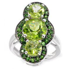 Sterling Silver Choice Gemstone Three Stone Halo Ring