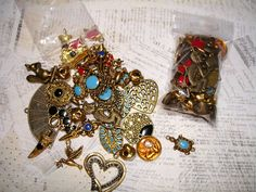 Gold Rush of Charms - 25-30 Goldtone & Antique Brass Charms - $5 start bid in the Supplies with a Surprise LIVE Tophatter.com auction. Come get some deals in this fun auction with real time bids, and a FREE surprise with every item purchased.