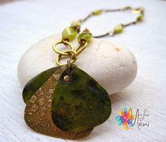 necklace Fanning: brass, acid jade