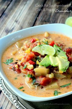 I'm not ashamed that I licked the bowl on this one! Healthy Crock Pot Southwestern Corn & Potato Chowder | www.joyfulhealthyeats.com #dairyfree #souprecipes
