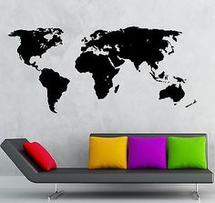 Wall Stickers Vinyl Decal World Map Travel Geography Earth Cool Decor (ig751)