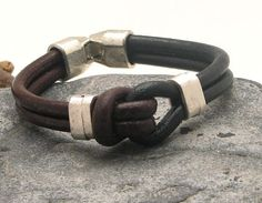 FREE SHIPPING Men's leather bracelet Brown and by eliziatelye, $28.00