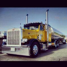 Peterbilt Custom with stainless tanker trailer.