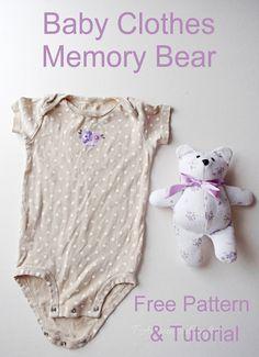 Memory bear from a baby onesie as a keepsake- free sewing pattern