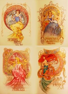Disney princess mucha inspired