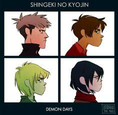 Jean, Eren,Armin,Mikasa gorillaz album demon days by Johanna the mad. Attack on titan / Shingeki no Kyojin.
