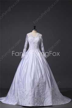 Queen Anne Neckline Long Sleeves Ball Gown Floor Length Plus Size Wedding Dresses With Illusion Back at fancyflyingfox.com