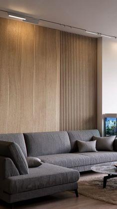 Timber Cladding & Slatted Wood Furniture – Winter 2019 Seasonal Edit — The Savvy Heart – Tv Room Interior Walls, Living Room Interior, Home Interior Design, Wall Cladding Interior, Interior Lighting, Living Room Modern, Living Room Designs, Timber Cladding, Timber Slats