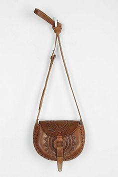 Hiptipico Half Moon Tooled Leather Crossbody Bag - Urban Outfitters