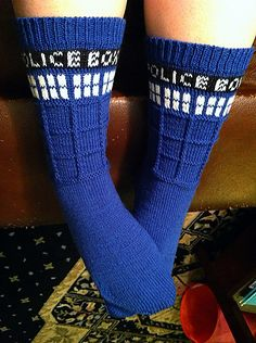 Tardis socks <3 want.    I need @Gregory Myers Maupin to convince a certain man that he needs to take up knitting so he can knit me these for Christmas.
