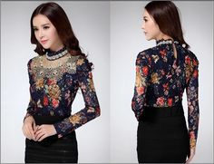 NEW 2014 Women Floral Lace fashion casual girl blouse Diamond beaded lace shirt women clothes 3115-in Blouses & Shirts from Women's Clothing & Accessories on Aliexpress.com   Alibaba Group