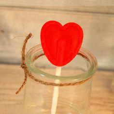 Sucette cœur rouge amour
