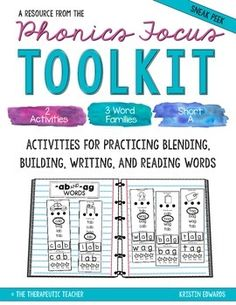 This product is part of the Phonics Focus Toolkit: A Year Long Phonics Bundle <--- Click on the link to see the entire pack. These activities are great ways to introduce blending, building, writing, and reading CVC words. The entire pack includes 20 activity sets (a single set is pictured on cover page) and covers 30 word families!