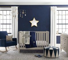 Find nursery ideas and themes for your baby boy at Pottery Barn Kids. Shop our boy nursery ideas and inspiration to help you get ready for your new baby. Baby Boy Rooms, Baby Boy Nurseries, Baby Room, Baby Cribs, Gold Nursery, Nursery Room, Navy Blue Nursery, Safari Nursery, Nursery Works