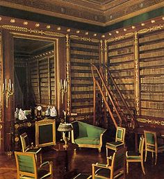 Library: Château de Compiègne.The Library has a secret door that leads to the Empress's bedroom.