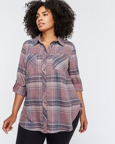 1d1c5b961 Shop online for Long Sleeve Buttoned Down Plaid Tunic Blouse - L&L. Find  Tops &