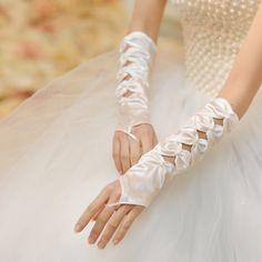 The White Quartet hollow Fingerless Bridal Gloves