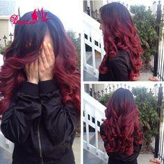 7aブルゴーニュブラジルバージンヘアブルゴーニュオンブルバージン毛3バンドルブラジルの実体波赤ブルゴーニュブラジルのオンブル髪