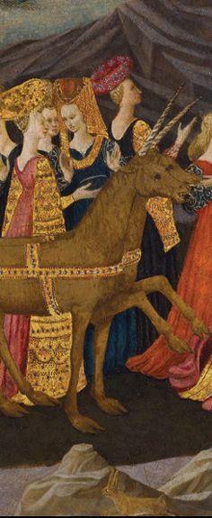 Birth Tray with the Triumph of Chastity (detail). Workshop of Apollonio di Giovanni (Italian, 1415/17–1465)