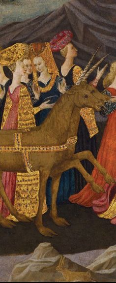 Birth Tray with the Triumph of Chastity (detail). Workshop of Apollonio di Giovanni (Italian, 1415/17–1465). Italian, Florence, ca. 1450–60. Tempera and gold leaf on panel. North Carolina Museum of Art, Raleigh, Gift of the Samuel H. Kress Foundation