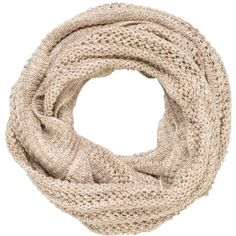 maurices Infinity Scarf In Marled Knit ($18) ❤ liked on Polyvore featuring accessories, scarves, fillers, beige, infinity circle scarf, knit shawl, knit scarves, round scarf and knit loop scarf