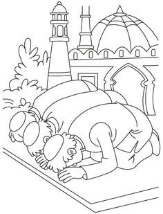 Eid prayer coloring page | Download Free Eid prayer coloring page ...