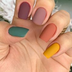 : dailus laurence esmaltesdailus matte version of multi nail . dailus laurence smaltesdailus matte version of multicolored nails ? multicolored nails funny nails multicolornails mattenail – AccentNailsmiddle Manicuresdesenho NailArtDesignspurple n Pastel Nails, Cute Acrylic Nails, Cute Nails, My Nails, Autumn Nails Acrylic, Pretty Gel Nails, Cute Simple Nails, Neon Nails, Glitter Nails