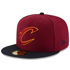 b6b14fcb42c Cleveland Cavaliers New Era Official Team Color 2Tone 59FIFTY Fitted Hat -  Maroon Black