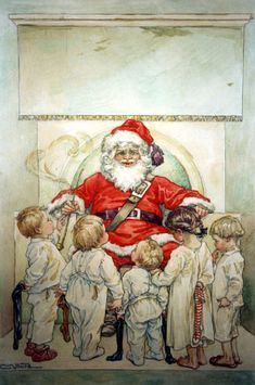 Illustration divers - Enfants Clara M Burd Ghost Of Christmas Past, Noel Christmas, Victorian Christmas, Father Christmas, Vintage Christmas Cards, A Christmas Story, Christmas Pictures, Vintage Cards, Vintage Postcards
