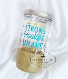 Glitter Dipped Mason Jar Tumbler // Strong Beautiful Brave