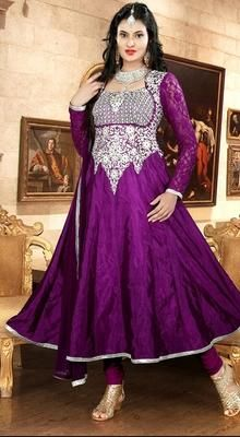 Purple Crepe Silk Anarkali Dress