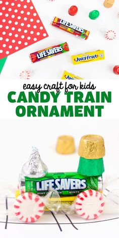 Candy Train Ornament - Learn how to make these fun DIY Christmas candy trains! Christmas Candy, Christmas Diy, Candy Train, Train Ornament, Arts And Crafts For Kids Toddlers, Activities For Kids, Classic Candy, Juicy Fruit, Mud Pie