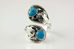 Navajo .925 Sterling Silver Adjustable Turquoise Ring Size 7 By Roger Pino by LoudCrowTrading on Etsy