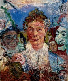 Belgian Painter James Ensor - also the people he came to influence . Gustav Klimt, Kandinsky, Maurice Denis, Diego Ribera, James Ensor, Franz Marc, Expressionist Artists, Neo Expressionism, Paul Klee
