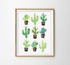 Cactus Poster - Watercolor Print, Succulent Print, Nature, Flower, Office Art, Home Decor, Green
